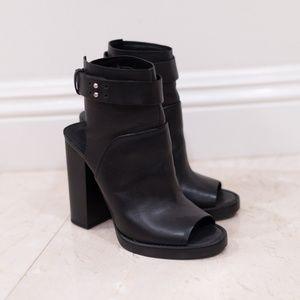 Zara Leather Peep Toe Ankle Boots